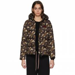 Burberry SSENSE Exclusive Brown Monogram Puffer Down Leith Jacket 8025885