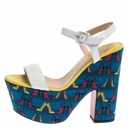 Christian Louboutin Multicolor Printed Leather and Fabric Open Toe Ankle Strap Platform Sandals Size 40 239915