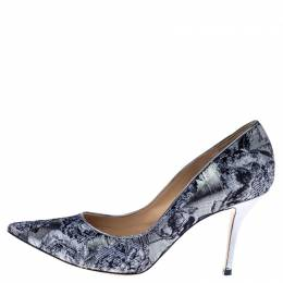 Paul Andrew Metallic Two Tone Brocade Fabric Pointed Toe Pumps Size 37 238468