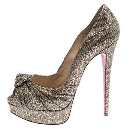 Christian Louboutin Metallic Gold Glitter Fabric Knotted Peep Toe Pumps Size 39 239859