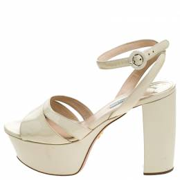 Prada Cream Patent Leather Ankle Strap Block Heel Platform Sandals Size 40.5 239827