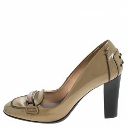Tod's Beige Patent Leather Block Heel Loafer Pumps Size 37 239955
