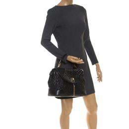 Versace Black Barocco Leather Altea Top Handle Bag 236646