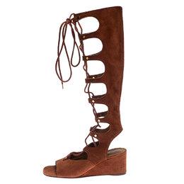 Chloe Dark Orange Suede Tall Gladiator Wedge Sandals Size 36 233768