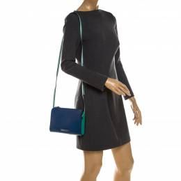Marc By Marc Jacobs Blue/Green Stingray Embossed Leather Queens Night Out Ellen Crossbody Bag 235278