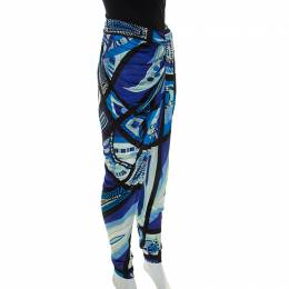 Emilio Pucci Multicolor Printed Jersey Draped Pants S 234715