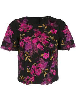 Josie Natori трикотажная футболка с вышивкой H15101