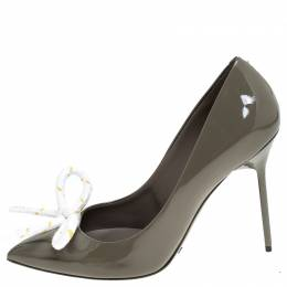 Burberry Grey Patent Leather Finsbury Bow Pointed Toe Pumps Size 40 240611