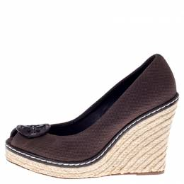 Tory Burch Brown Canvas Peep Toe Wedge Espadrille Platform Pumps Size 40 238478