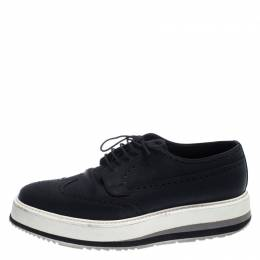 Prada Black Brogue Leather Trainer Lace Up Derby Sneakers Size 42 238510