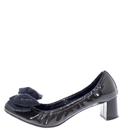 Prada Dark Green/Black Patent Leather Bow Block Heel Pumps Size 40 Prada Sport 240305