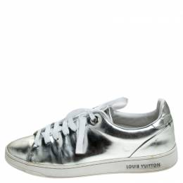 Louis Vuitton Metallic Silver Leather Frontrow Low Top Sneakers Size 37 240379