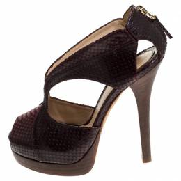 Fendi Brown/Burgundy Python Embossed Leather Strappy Peep Toe Platform Sandals Size 36.5 240375