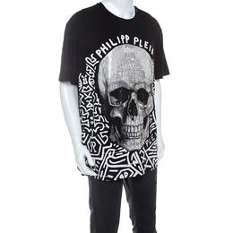 Philipp Plein Black Skull Print Cotton Crystal Embellished T-Shirt 4XL 239984