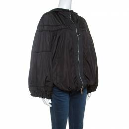 Moncler Black Grosgrain Trim Balloon Sleeve Hooded Jacket L 239232