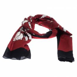 Gucci Dark Red and Black Floral Print Cotton Scarf 238919