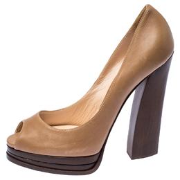 Casadei Dark Beige Leather Peep Toe Wooden Heel Platform Pumps Size 38.5 238176