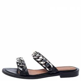 Givenchy Black Leather Chain Trimmed Flat Sandals Size 38 240674