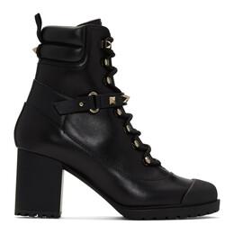 Valentino Black Valentino Garavani Rockstud Heeled Combat Boots UW2S0R63GNW