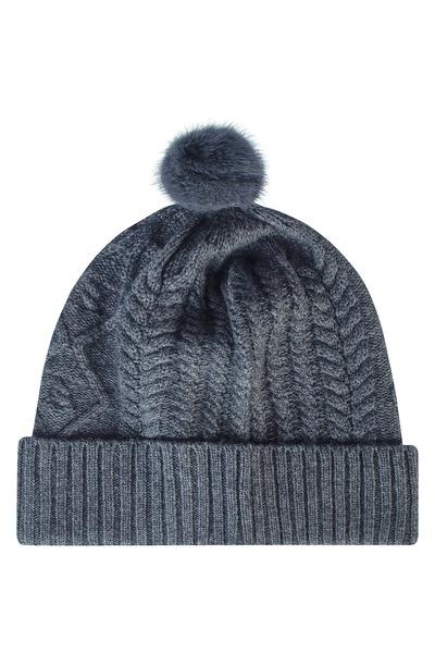 Серая шапка с меховым помпоном Max & Moi 2919162539 - 1
