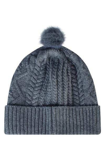 Серая шапка с меховым помпоном Max & Moi 2919162539 - 2