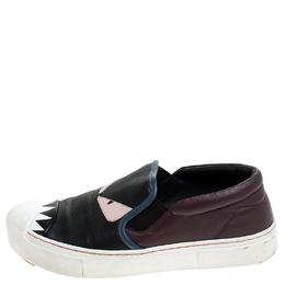 Fendi Multicolor Leather Monster Slip On Sneakers Size 36.5 240615