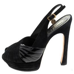 Saint Laurent Black Criss Cross Suede and Patent Leather Slingback Platform Sandals Size 40 240619