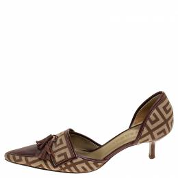 Givenchy Beige/Brown Canvas and Leather Tassels D'orsay Pumps Size 37.5 241332