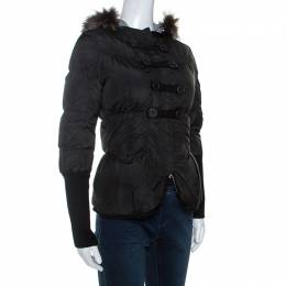 Brunello Cucinelli Black Fur Collar Ribbed Trim Peplum Puffer Jacket S