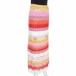 Missoni Multicolor Chevron Pattern Metallic Crochet Knit Maxi Skirt M 238071