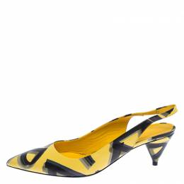 Burberry Yellow/Black/ Leather Morson Slingback Sandals Size 39 239922