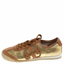 Tory Burch Gold/Brown Foil Leather And Leather Murphey Sneakers Size 36.5