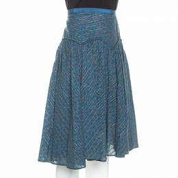 Marc Jacobs Blue Floral Printed Cotton Lurex Striped Midi Skirt M Marc By Marc Jacobs 238531