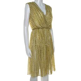 Max Mara Yellow Printed Silk Pleated Sleeveless Dress M 239945