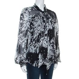 Equipment Grey Printed Silk Cleone Shirt M