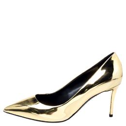 Giuseppe Zanotti Design Metallic Gold Leather Pointed Toe Pumps Size 38