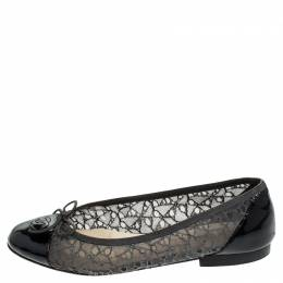 Chanel Two Tone Lace and Patent Leather CC Cap Toe Ballet Flats Size 41 241757