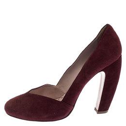 Miu Miu Maroon Suede Curved Heel Pumps Size 40 240745
