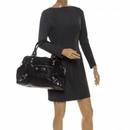Balenciaga Black Leather Giant Hardware 21 Midday Bag 241090