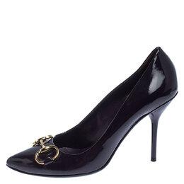 Gucci Purple Patent Leather Horsebit Pointed Toe Pumps Size 37.5 240732