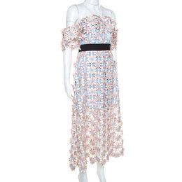 Self-Portrait Peach Floral Lace Applique Off Shoulder Midi Dress M