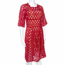 Chloe Lacquer Red Corded Lace Contrast Silk Lined Sheath Dress S