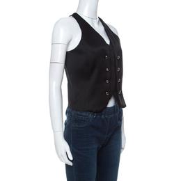 Emporio Armani Black Wool Blend Show Button Detail Waist Coat S
