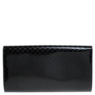 Gucci Black Microguccissima Patent Leather Broadway Clutch 235357 - 3