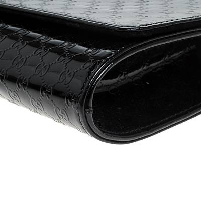 Gucci Black Microguccissima Patent Leather Broadway Clutch 235357 - 10