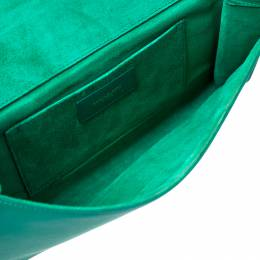 Saint Laurent Paris Green Leather Large Chyc Clutch