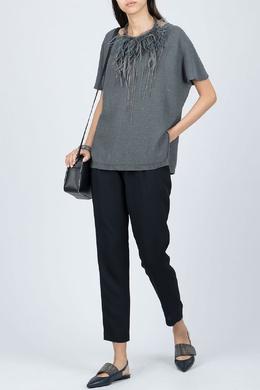 Свободный серый свитер с короткими рукавами Fabiana Filippi 2658162638