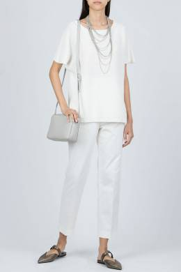 Белый вязаный свитер с короткими рукавами Fabiana Filippi 2658162637
