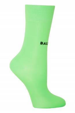 Удлиненные зеленые носки с черным логотипом Balenciaga 397162331