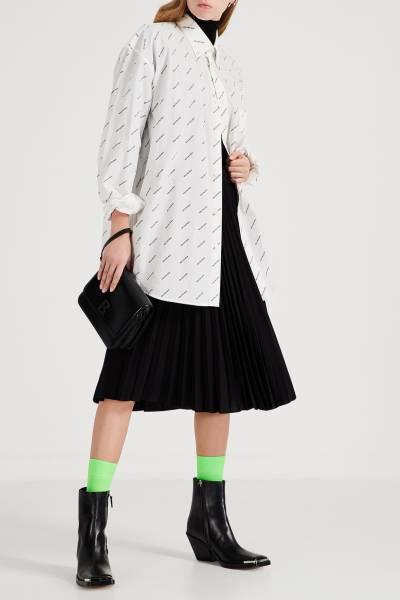 Удлиненные зеленые носки с черным логотипом Balenciaga 397162331 - 2